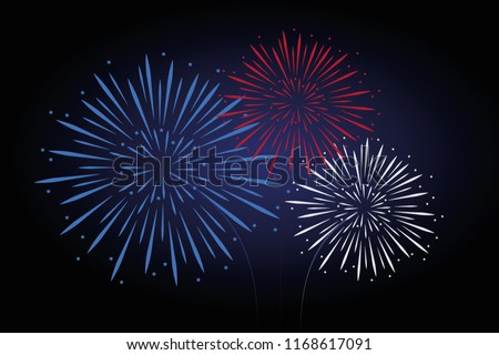 fireworks blue red white colors
