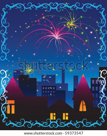 Fireworks celebration scene, detailed illustration.