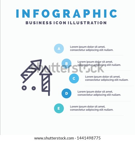 Fireworks, China, Chinese, Firecracker Blue Infographics Template 5 Steps. Vector Line Icon template
