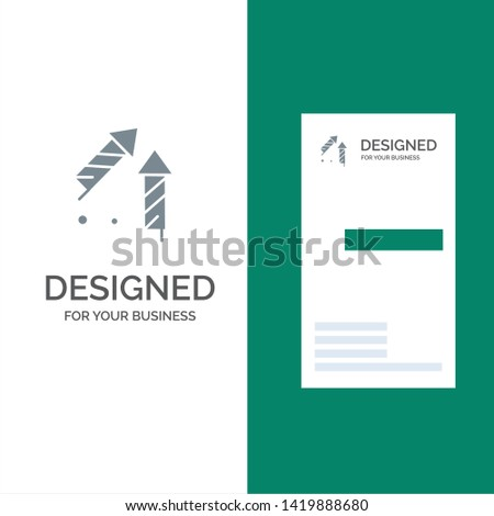 Fireworks, China, Chinese, Firecracker Grey Logo Design and Business Card Template