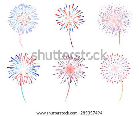 Fireworks display celebration vector illustration