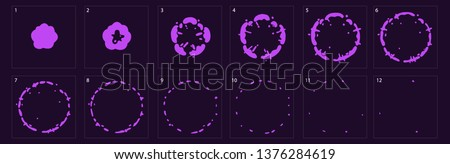 Fireworks explode for animation. Burst explosion animation, sprite sheet of magic purple attack for game, cartoon or animation burst explosion.-vector - Vector