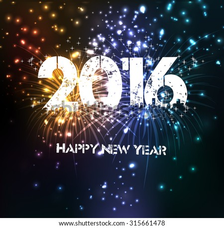 Fireworks for happy new year 2016 #315661478