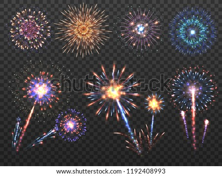 Fireworks. Holiday firework explosion in night, firecracker sparks. Happy new year vector decoration set isolated. Explosion firecracker, holiday bright celebration illustration