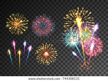 Fireworks isolated on dark transparent background. Festive firecracker salute burst. Pyrotechnic rocket fire. Vector illustration
