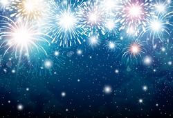 Fireworks on blue sky background for christmas and new year and other celebration