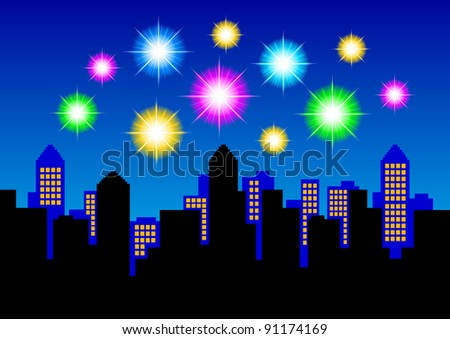 Fireworks on night sky - stock vector