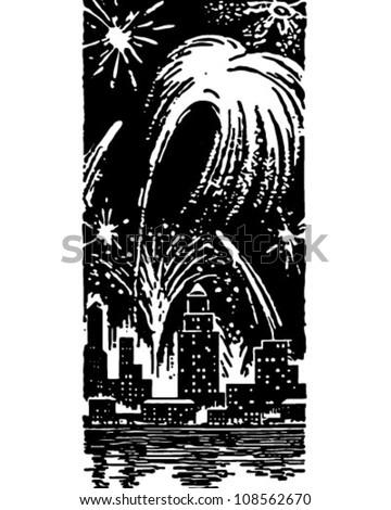 Fireworks Over City - Retro Clipart Illustration