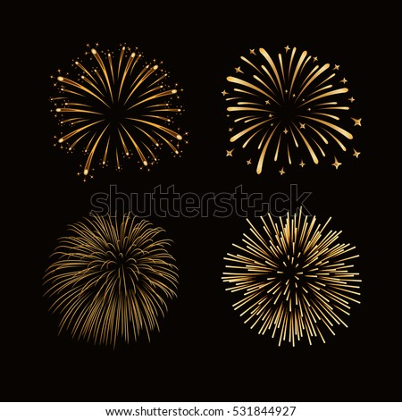 fireworks set gold isolated