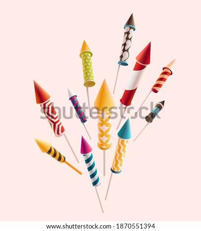 Fireworks set rocket. Colorful vector decoration 3d object.