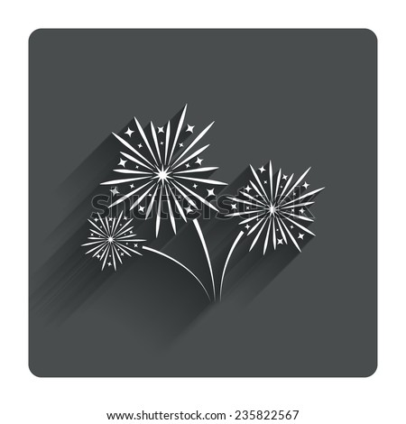 Fireworks sign icon  Explosive pyrotechnic show symbol  Gray flat    Explosive Symbol Vector