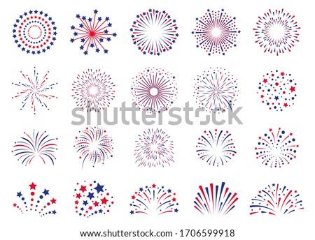 Fireworks 4th July. Celebration festival firecracker, party firework explosion, carnival firework explosions vector icons set. Explosion firework at christmas, new year, festival carnival illustration