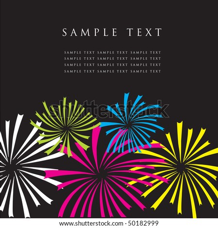 fireworks vector greeting card