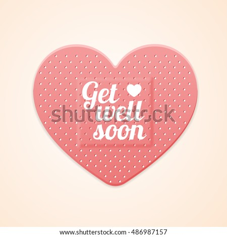 First Aid Band Plaster Strip Medical Patch Heart Greeting Card. Get well soon text flyer Vector illustration of pink plasters.