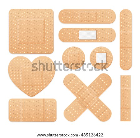 First Aid Band Plaster Strip Medical Patch Icon Set. Different Plasters Types. Vector illustration of cross, heart and box banners of patches