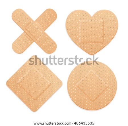 First Aid Band Plaster Strip Medical Patch Icon Set. Different Types. Vector illustration of four plasters - box, heart, cross and round