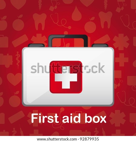 first aid box over red medical background. vector illustration