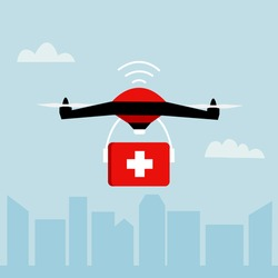 First aid drone delivery concept vector illustration. Remote air drone with a red box and white cross flying in the sky. Modern express delivery of health package by flying drone in flat design.