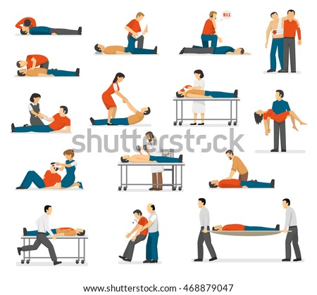 First aid emergency treatment and cpr technique in life threatening situations flat icons collection abstract isolated vector illustration