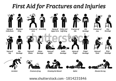 First aid for fractures and injuries on different body parts stick figure icons. Vector illustrations of sling, bandage, and elevation techniques treatment for broken bones and pain. Photo stock ©