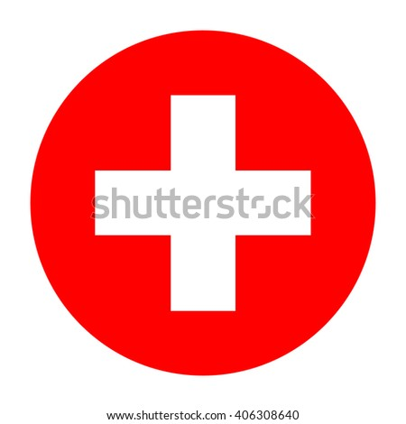 First aid icon, first aid sign, white first aid symbol on red background, vector illustration