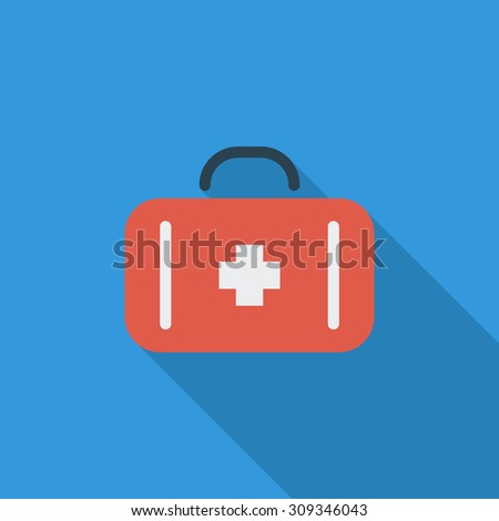 First aid icon. Flat vector related icon with long shadow for web and mobile applications. It can be used as - logo, pictogram, icon, infographic element. Vector Illustration.