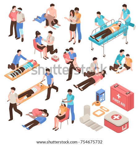 First aid isometric set with people during help victim persons, emergency care kit isolated vector illustration