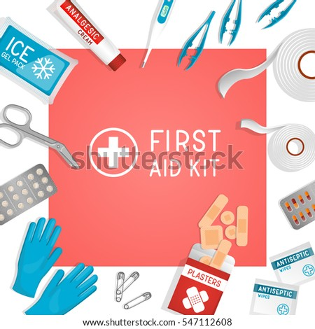 First aid kit background. Kit utilities: plasters, painkillers, scissors, analgesics, pills, gloves, tweezers, tapes, ice pack. Clinic medicine ad / print. Medical realistic vector illustration.