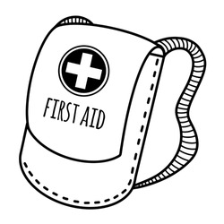 First aid kit backpack for travel. Hand-drawn vector doodle isolated on white background. Bag with straps for storing medicines.Bag with a cross and text. First aid kit sketch.Monochrome illustration