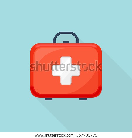 First aid kit box isolated on background. Vector illustration. Flat cartoon style