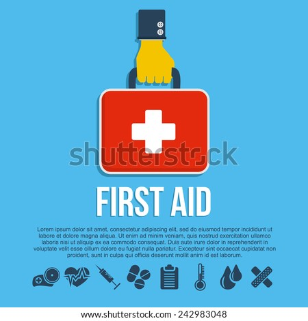 First aid kit concept with hand holding medicine chest with cross and healthcare icons flat vector illustration