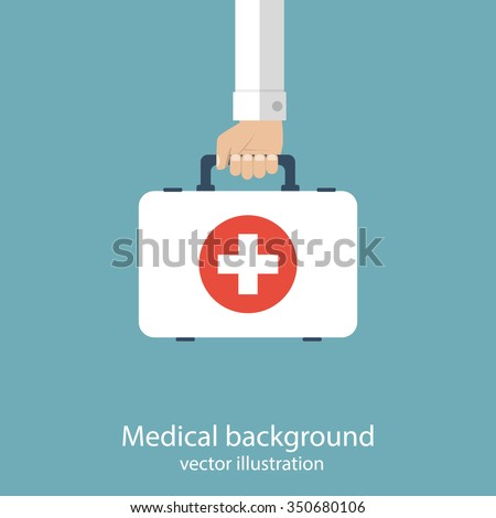 First aid kit in hands doctor. Medical background. Vector illustration in flat design.