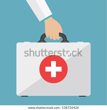 first aid kit in the doctors hands. Healthcare, hospital and medical diagnostics. Medical bag. Healthcare and diagnostics. vector illustration in flat style.