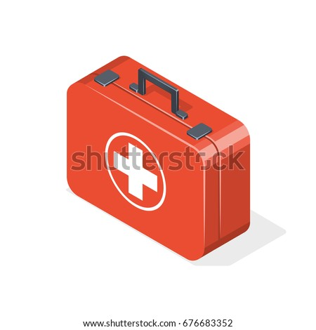 First aid kit isolated on white background. Isometric vector illustration