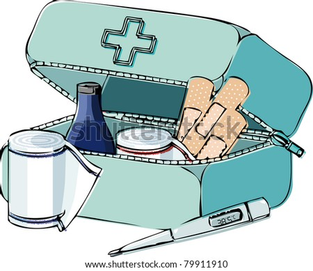 first-aid-kit line - stock vector