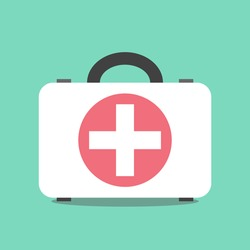 First aid kit suitcase on mint green background. Emergency, doctor, assistance, healthcare, accident and cure concept. Flat design. EPS 8 vector illustration, no transparency, no gradients