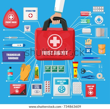 First aid kit with medical equipment and medications. Cloth bag for medicine. Healthcare, hospital and medical diagnostics. Urgency and emergency services. Vector illustration in flat style