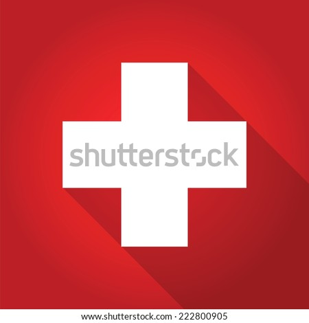 first aid long shadow icon, vector symbol