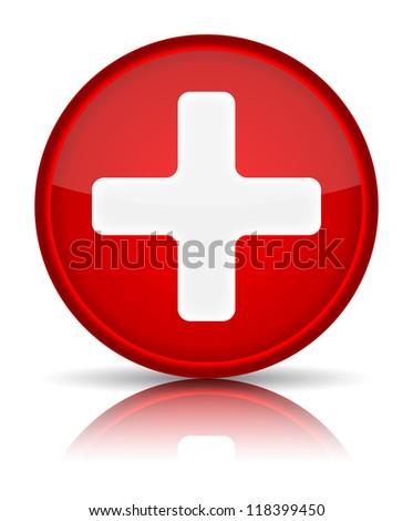 First aid medical button sign with reflection isolated on white. Vector illustration