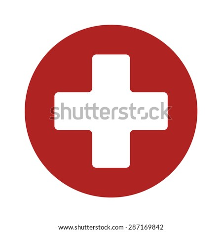 First aid medical sign flat vector icon for app and website