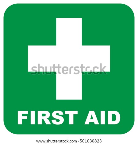 First aid sign. Green square and white cross symbol with FIRST AID text below, vector illustration.