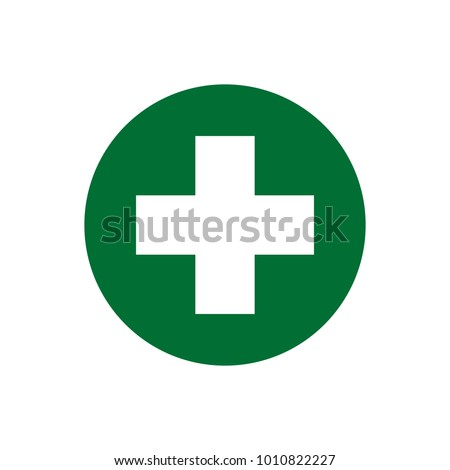 First aid sign. Medical and pharmacy cross vector icon. Cannabis symbol.