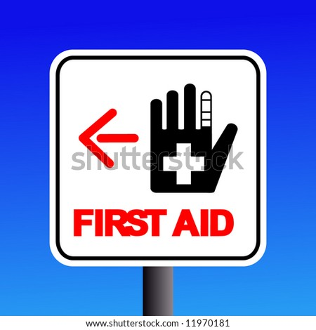 first aid station sign with arrow illustration