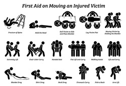 First aid techniques on moving an injured victim stick figures icons. Vector illustrations of the methods, procedures, and how to move or relocating an injured person.