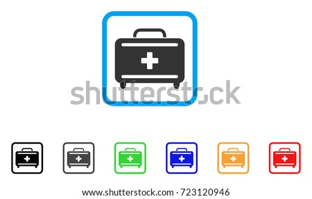 First Aid Toolkit icon. Flat pictogram symbol in a rounded square. Black, gray, green, blue, red, orange color versions of First Aid Toolkit vector. Designed for web and app interfaces.