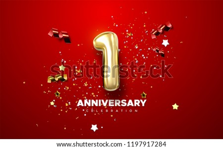 First Anniversary celebration. Golden number 1 with sparkling confetti, stars, glitters and streamer ribbons. Vector festive illustration. Realistic 3d sign. Birthday or wedding party event decoration