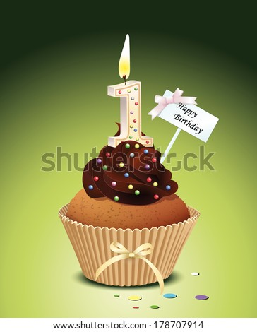 First birthday cupcake with lit candle in shape of number one Vector Illustration