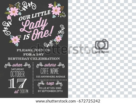 First Birthday Invitation Girl Chalkboard Party One Year Old Black Color With Flowers