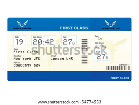 First Class Boarding Pass Or Plane Ticket With Destination  Airline Ticket Template Word