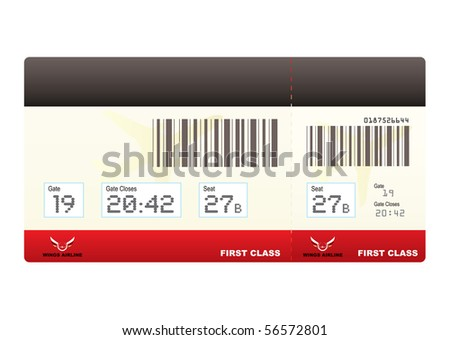 first class plane ticket or boarding pass in red with barcode